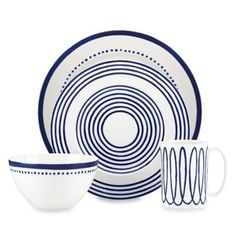 Kate Spade New York Charlotte Street West 4 Piece Place Setting - Blue Kate Spade, Hudson Bay, Wine Collection, London Street, Blue Design, China Porcelain, Place Settings, Dillards, Navy And White