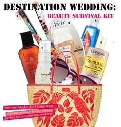 Beauty must-haves for a destination wedding! We spy Jurlique Rosewater Balancing Mist in that bag!