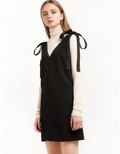 Black Shoulder Tie Dress