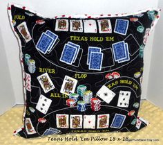 "Texas Hold ""Em 18 x 18 Pillow, Button Up Shirt to Pillow, A special gift to the poker player in your life, Great Valentine's Day Gift"