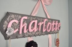 Bow and Headband Holder personalized damask by ChicLittleCharlotte, $34.00