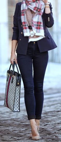 Plaid Wool Scarf with Double Breasted Wool Suiting Jacket and Patent Leather Pointy Toe Pump - Brooklyn Blonde