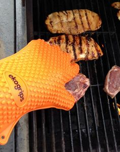 Heat and Water-proof BBQ gloves. Turn steaks by hand!