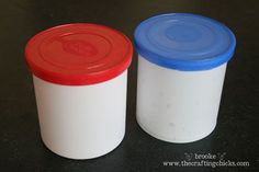 Frosting Containers can store rolled-up border for classroom bulletin boards....tape a piece on the outside for easy identification