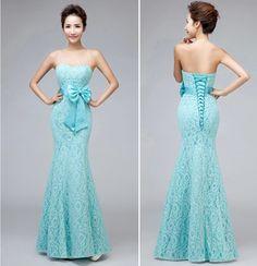 Royal Blue Bridesmaid Dress Mermaid Long Lace Sweetheart With Bow Vestidos De Festa Vestido Longo Red Bridesmaid Gown Fishtail