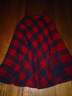 1970s Wool Plaid Peck & Peck Fifth Avenue Full Circle Skirt Size 9