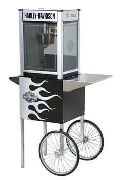 Harley Davidson Metallic Flames Popcorn Machine w/Cart $959.99