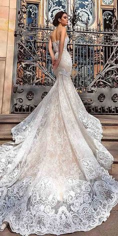 Crystal Design 2016 wedding dresses collection - Modern brides are sure to love every detail of these romantic and delicate wedding gowns. 2016 Wedding Dresses, Designer Wedding Dresses, Wedding Attire, Bridal Dresses, Wedding Gowns, Dresses 2016, Lace Wedding, Crystal Wedding, Wedding Dress Long Train