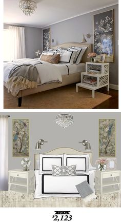 A chic chinoiserie guest bedroom by @elementstyle and recreated by @audreycdyer for $2123