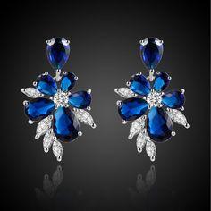 Jewelry Fashion Lady's Flower Blue Sapphire 18K Gold Filled Party Earrings Gift #BaoLiYa #Stud $2