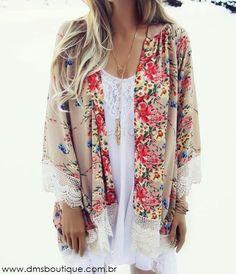 Boho Style | Kimono Estampado Floral com Renda
