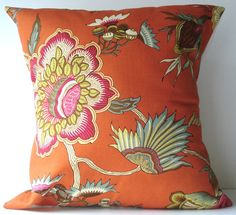colours  New 18x18 inch Designer Handmade Pillow Case. orange floral.. $25.00, via Etsy.