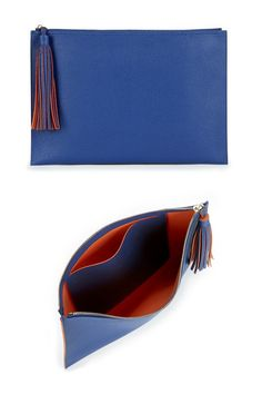 Luxurious navy blue clutch with a two-toned tassel