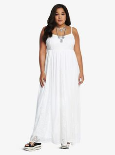 """Breeze through your day in this refreshing style! This ivory dress is long and alluring. Lace insets give this feminine look a lovely touch. A gathered waistline finishes off this soft maxi in a way that's sure to flatter your silhouette. Fully lined. <br><br><b>Model is 5'10"""", size 1</b>"""