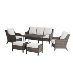 Enjoy a more comfortable take on outdoor dining with the selection of this Hampton Bay Windsor Wicker Patio Conversation Set with Beige Cushions. Rattan Furniture Set, Outdoor Lounge Furniture, Steel Furniture, Hampton Bay Patio Furniture, Beige Cushions, Seat Cushions, Single Chair, Chair Design, The Hamptons