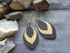 Leather earrings. Gold earrings. Black leather earrings. Long earrings. Dangle earrings. Boho earrings. Bohemian earrings. Leather jewely.