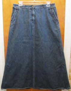 Lauren Jeans Co. Ralph Lauren Womens Long Denim Jean Skirt Size 10 Modest #RalphLauren #ALine