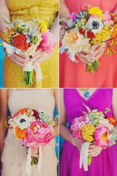 bright and colorful bouquets, bridesmaids dresses BHLDN & Modcloth