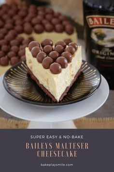 A delicious white chocolate Baileys Malteser Cheesecake that is completely no-bake! Maltesers = the perfect boozy dessert! bites easy bites keto bites mini bites no bake bites no bake easy bites recipes Maltesers Cheesecake, Mini Cheesecake Bites, Easy No Bake Cheesecake, Best Cheesecake, Chocolate Cheesecake, Cheesecake Recipes, Baileys Cheesecake, Birthday Cheesecake, Cheesecake Trifle