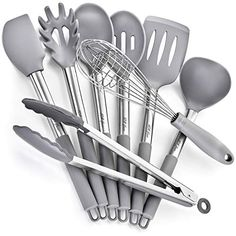 8 Silicone Stainless Steel Nonstick Kitchen Utensil set Silicone Stainless Steel Cooking Utensils set Non-Scratch Cooking Spatulas Kitchen Tool Set and Gadgets - Hiking & Camping - Kitchen Tools Cooking Spatula, Cooking Utensils Set, Silicone Kitchen Utensils, Kitchen Utensil Set, Cooking Stores, Camping Cooking, Kitchen Helper, Cooking Equipment, Kitchen Tools