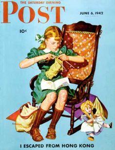 Saturday Evening Post - 1942-06-06: Knitting for the War Effort (James W. Schucker)