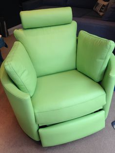 Zingy lime leather electric rocking recliner swivel chair.  Our latest display arrived this morning!
