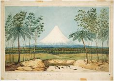 Heaphy, Charles Mt Egmont from the southward, 1840 Watercolour National Library of New Zealand Purchased with other New Zealand Company material in London in 1915 by Alexander Turnbull Ref: Landscape Prints, Landscape Paintings, Trauma, Nz History, History Online, Online Art Store, New Zealand Landscape, New Zealand Art, Nz Art