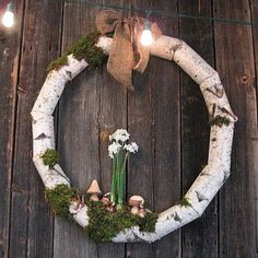 Attach birch log segments in the shape of a #wreath and decorate with your favorite holiday accents for a fresh look that works either indoors or out.