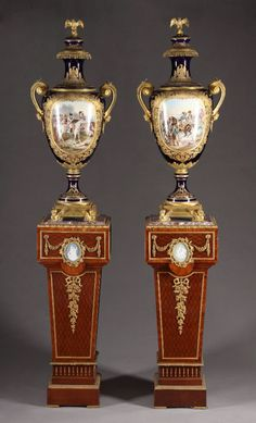 A Large Pair of French 19th C Sevres Porcelain Vases | eBay