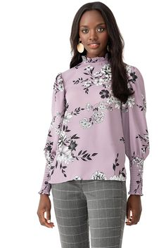 417028abc3729 Suzy Shier · Powdery Pastels · High-Necked Printed Chiffon Blouse with  Sleeve Smocking - Mauve