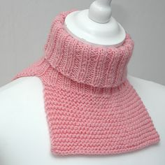 Warm up under a round or v neck sweater. Quick Knitting Projects, Knitting For Kids, Easy Knitting, Loom Knitting, Knitting Stitches, Knitting Patterns Free, Crochet Neck Warmer, Knitting Books, Knit Cowl