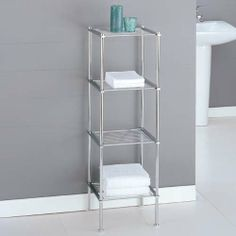 4 Tier Shelf Unit by Organize It All. $44.98. Constructed of hollow tubed and rectangular metal frame with chrome finish. No tool assembly. Sturdy and strong , yet lightweight. 13 x 12.2 x 41.1 inches. Perfect for towels, toiletries or decorative home items. The Metro Four Tiered Shelf works great to fit any bathroom storage need. Simply use the four metal wire shelves for storage of towels, toiletries, or decorative home items. Constructed of a hollow tubed and rectangular...