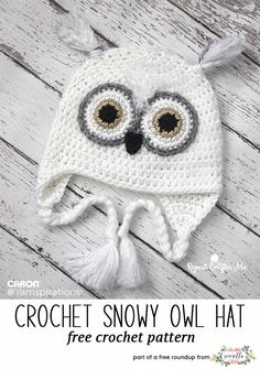 Crochet this easy snow owl character kids child hat from Yarnspirations and Repeat Crafter Me from my winter kids hats free pattern roundup!