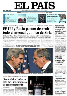 Los Titulares y Portadas de Noticias Destacadas Españolas del 15 de Septiembre de 2013 del Diario El País ¿Que le pareció esta Portada de este Diario Español?