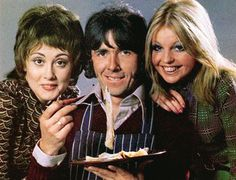 Man About The House. Image shows from L to R: Chrissy Plummer (Paula Wilcox), Robin Tripp (Richard O'Sullivan), Jo (Sally Thomsett). British Sitcoms, British Comedy, British Actors, Richard O Sullivan, Radios, Classic Comedies, Vintage Television, My Childhood Memories, 1970s Childhood
