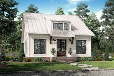 Modern Farmhouse Plan: 1,257 Square Feet, 2 Bedrooms, 2 Bathrooms - 041-00227 Modern Farmhouse Plans, Farmhouse Design, Farmhouse Style, Cottage Farmhouse, Southern Farmhouse, Modern Cottage Style, Farmhouse Addition, Garden Cottage, Small Cottage Homes