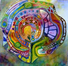 "Painting by Carolyn Rondthaler: ""Labyrinth 1 - My Journey,"" Labyrinth Maze, Labrynth, Fiber Art, Glass Art, Art Projects, Abstract Art, Artwork, Journey, Play Therapy"