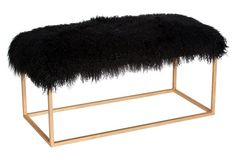 Block Sheepskin Bench, Black/Gold