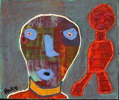 STRANGER IN A STRANGE LAND Hoke Outsider Painting RAW Folk Abstract Art Brut #OutsiderArt