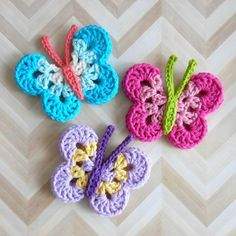 Butterfly Catalyna Crochet pattern by Island Style Crochet - My second butterfly design is named for my middle niece. She likes everything to be smooth and unfu - Crochet Butterfly Free Pattern, Crochet Puff Flower, Crochet Flower Patterns, Crochet Motif, Crochet Flowers, Crochet Stitches, Knitting Patterns, Crochet Ball, Crochet Ideas