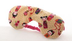 Tan Japanese Printed Organic Lavender Eye Mask by Scrapcycling