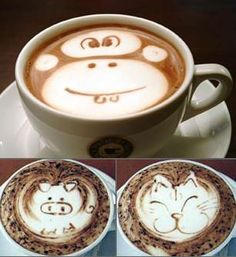 Perhaps you think just drink regular cappuccino. In fact, the type of coffee beverage on this one there is a work of art called Latte Art. Best Coffee Shop, I Love Coffee, Coffee Break, My Coffee, Coffee Shops, Drink Coffee, Morning Coffee, Monkey Coffee, Coffee Mugs