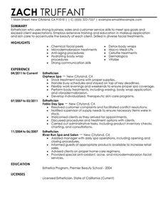 8 Latest Esthetician Resume Sample