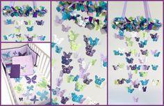 "Lovebug Lullabies Original Nursery Mobile. Butterflies to match NoJo ""Beautiful Butterflies"" Bedding Set. https://www.etsy.com/listing/240721587/butterfly-nursery-mobile-in-purple?ref=shop_home_active_1"