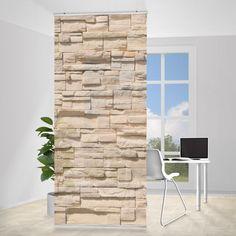 Raumteiler   Vorhang - Wall of Ashlar 250x120cm #Schiebegardienen #Schiebevorhang #Vorhang #Raumtrenner #Curtain #Steinwand