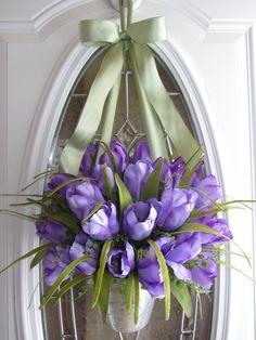 Tulip Wreath - Easter Wreath - Spring Wreath - Tulip Door Decor. $59.95, via Etsy.