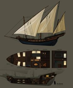 Grey Warden's Ship by MatMoura on DeviantArt Asesins Creed, Ship Map, Arte Steampunk, Flying Ship, Bateau Pirate, Rpg Map, Grey Warden, Sea Of Thieves, Pirate Art