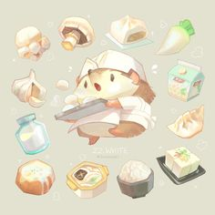 White ☁️tried more savory foods/ingredients! most are a little more cream color than white but they're all still yummy… Cute Illustration, Character Illustration, Cartoon Drawings, Cute Drawings, Character Drawing, Character Design, Different Art Styles, Mascot Design, Cute Games