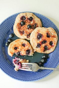 Oatmeal Blueberry Yogurt Pancakes (gluten free, high protein!) http://www.ambitiouskitchen.com/easyrecipe-print/11270-0/