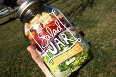 Salad in a jar. Great idea. Comes in three different types Greek, Chef, and Caesar